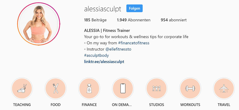 Instagram Highlights mit Cover
