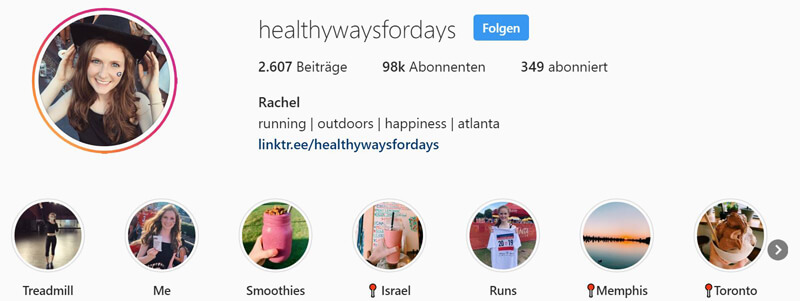 Instagram Highlights sortiert
