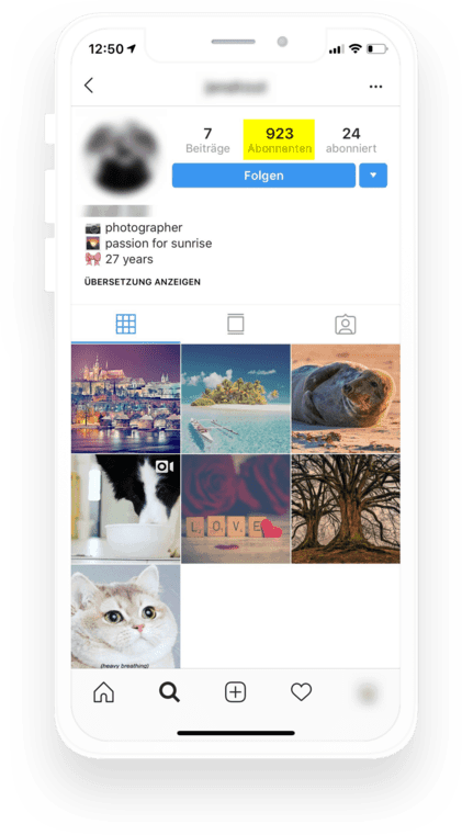 So werden Follower auf Instagram angezeigt